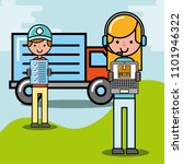 courier man and girl worker...   Shutterstock .eps vector #1101946322