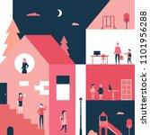 childhood   flat design style... | Shutterstock .eps vector #1101956288