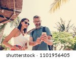 couple on a honeymoon trip | Shutterstock . vector #1101956405