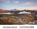 sunset in a norwegian village | Shutterstock . vector #1101961088