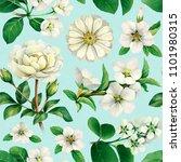 watercolor white flowers....   Shutterstock . vector #1101980315