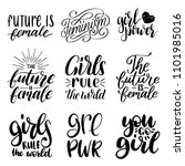 girls rule the world  future is ... | Shutterstock .eps vector #1101985016