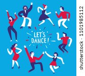 dancing people set. let's dance ... | Shutterstock .eps vector #1101985112