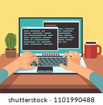person programmer working on pc ... | Shutterstock . vector #1101990488
