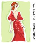 beautiful fashion girl in red... | Shutterstock .eps vector #1101991796