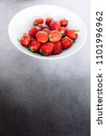 top view of fresh strawberry in ... | Shutterstock . vector #1101996962