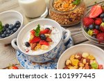 bowl of homemade granola with... | Shutterstock . vector #1101997445