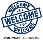 welcome blue round grunge stamp | Shutterstock .eps vector #1102001558
