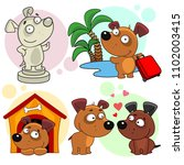 Set Of Cartoon Icons With Dogs...