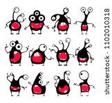 set of twelve cute black...   Shutterstock .eps vector #1102010318