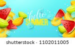 summer background with fruits.... | Shutterstock .eps vector #1102011005