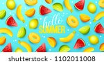 summer background with fruits.... | Shutterstock .eps vector #1102011008