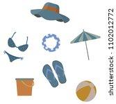 beach set  summer set for beach | Shutterstock .eps vector #1102012772
