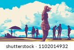 silhouettes of people on the... | Shutterstock .eps vector #1102014932