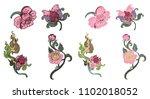 peony flower line thai style... | Shutterstock .eps vector #1102018052