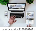 office tabletop with tablet ... | Shutterstock . vector #1102018742