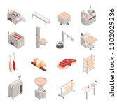 sausage factory set of... | Shutterstock .eps vector #1102029236