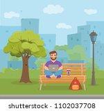 freelancer happy young men... | Shutterstock .eps vector #1102037708