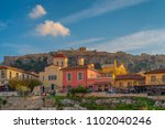 view of plaka athens with the... | Shutterstock . vector #1102040246