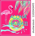 pink poster with aloha hawaii...   Shutterstock .eps vector #1102043495