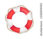 striped red and white lifebuoy... | Shutterstock .eps vector #1102044452