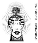 occult psychic woman seeing... | Shutterstock .eps vector #1102053758