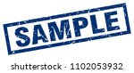 square grunge blue sample stamp | Shutterstock .eps vector #1102053932