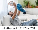 happy handsome caucasian man... | Shutterstock . vector #1102055948