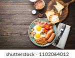 full english breakfast with... | Shutterstock . vector #1102064012