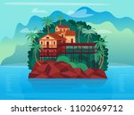 tropical island with bungalows... | Shutterstock .eps vector #1102069712