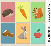 mini game cards. cute animals... | Shutterstock .eps vector #1102071542