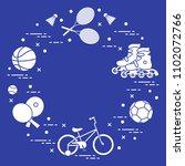 badminton rackets and... | Shutterstock .eps vector #1102072766