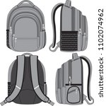 vector backpack in 4 angles.... | Shutterstock .eps vector #1102074962