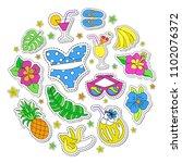 hawaiian retro patch set.... | Shutterstock .eps vector #1102076372