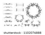 vintage vector set. floral... | Shutterstock .eps vector #1102076888