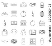 grocery icons set. outline set... | Shutterstock . vector #1102083425