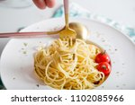 traditional italian pasta with... | Shutterstock . vector #1102085966