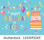 happy birthday to you... | Shutterstock .eps vector #1102093265