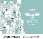 vector illustration with cats.... | Shutterstock .eps vector #1102100945