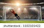 goalkeeper is trying to save... | Shutterstock . vector #1102101422