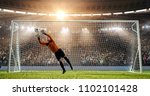 goalkeeper is trying to save... | Shutterstock . vector #1102101428