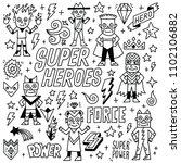 super heroes funny wacky doodle ... | Shutterstock .eps vector #1102106882