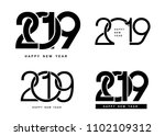 happy new year. set of 2019... | Shutterstock .eps vector #1102109312
