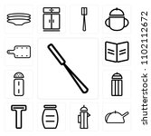 set of 13 icons such as peeler  ... | Shutterstock .eps vector #1102112672