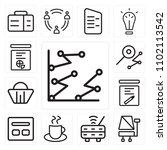 set of 13 icons such as line...