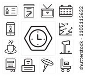 set of 13 icons such as clock ...