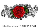 red roses contour line art... | Shutterstock .eps vector #1102114778