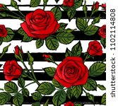 red roses pattern seamles... | Shutterstock .eps vector #1102114808