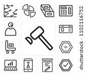 set of 13 icons such as hammer  ...