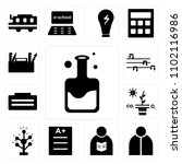 set of 13 icons such as flask ...